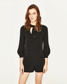 SHORT JUMPSUIT WITH BOW AT THE NECKLINE-NEW IN-WOMAN | ZARA United States