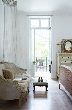 Bedroom sitting area, Love the transom and narrow French doors