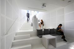 Micro auditorium and cafe:During the day, the micro-auditorium doubles as a living room/cafe that residents and the public can share.Songpa Micro-Housing Seoul, Korea by SsD Architecture+Urbanism Contemporary Architecture, Interior Architecture, Interior Design, Social Housing Architecture, Micro House, Apartment Complexes, Common Area, Small Spaces, Decoration