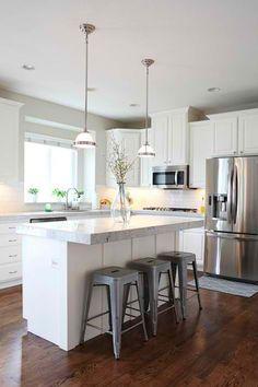 Jana Bek Design   Kitchens   L Shaped Kitchen White Cabinets, White Kitchen  Cabinets, Light Grey Countertops, Subway Tiled Kitchen, Subway T.
