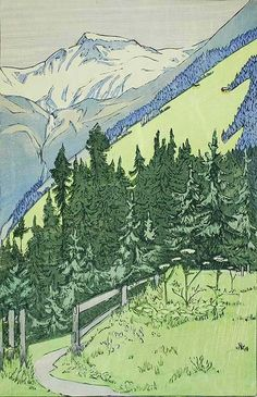 In the Swiss Alps - ETHEL KIRKPATRICK, British, (1866-1941) Woodcut printed in colors, undated , edition fewer than 50. 13 1/4 x 8 3/4 in. Signed in pencil, lower right. This is a fine, luminous impression with full margins. The condition is very good other than wrinkling in the lower margin not near the image. It's an uncommon print and a stellar arts and crafts image. Kirkpatrick is best known for her British scenes and views of Venice.     $900