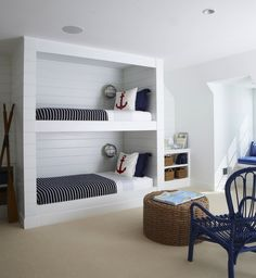 source: Lynn Morgan Design  nautical boys' bedroom with tongue and groove paneled built-in bunk beds, navy blue shams, white & blue striped sheets, marine sconces, white & red anchor pillows, round, seagrass ottoman and glossy blue wicker chair.