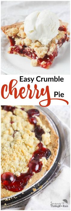 Easy Crumble Cherry Pie - This delicious cherry pie is perfect for the upcoming holidays and even if you aren't the best chef, this easy recipe is sure to wow your friends and family. Köstliche Desserts, Delicious Desserts, Dessert Recipes, Yummy Food, Recipes Dinner, Cherry Desserts, Simply Yummy, Cherry Recipes, Best Chef
