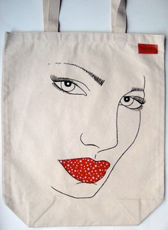 Hand painted fashion illustration tote bag.