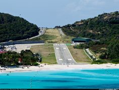A fantastic view of the infamous runway at St. Barthelemy.