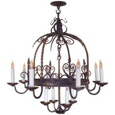 Unusual Provincial Wrought Iron 12-Light Chandelier | From a unique collection of antique and modern chandeliers and pendants  at http://www.1stdibs.com/furniture/lighting/chandeliers-pendant-lights/