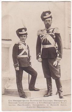 Tsarevich Alexei and Tsar Nicholas II of Russia.