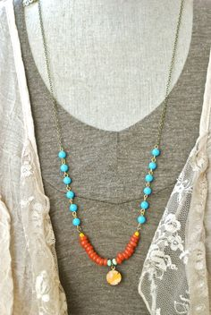 Mia. bohemiancolorfullong beaded layeredcharm by tiedupmemories