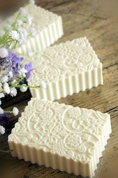 Lavender and White Clay Soap by Karuna Jabones - To see more of her beautiful handmade soaps visit her pinterest boards @ https://www.pinterest.com/jaboneskaruna