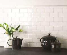 Crisp Classic white field tiles from The Winchester Tile Company.