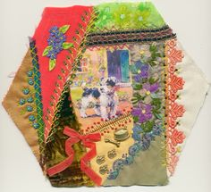 Viv's Crazy Quilting Journey: Hexagon three finished - Lonely little dog