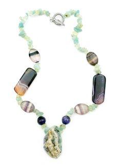 "Natural Mint Green and Purple Stone with Crystalized Pendant Centerpiece One of a Kind 18"" Necklace Witch and Rich http://www.amazon.com/dp/B00Q2TU70G/ref=cm_sw_r_pi_dp_7-8jvb0J9MCTC"