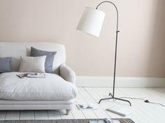 Slam Dunk floor lamp In Bronze with Natural Hessian shade Curved Floor Lamp, Gold Floor Lamp, Living Room Color Schemes, Living Room Designs, Room Planning, Vintage Lighting, Living Room Inspiration, Room Colors, Slam Dunk