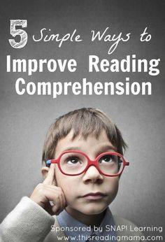 5 Simple Ways to Improve Reading Comprehension - This Reading Mama. This is mainly an ad for Snap, an online learning tool. Reading Resources, Reading Strategies, Reading Activities, Teaching Reading, Guided Reading, Reading Tips, Reading Games, E Learning, Improve Reading Comprehension