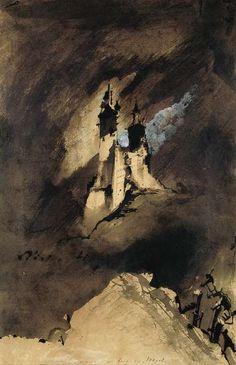 """Victor Hugo, """"Souvenir d'un burg des Vosges"""" / contraste / château / tour / vent / montagnes / ambiance / trait / couleur / composition / vertforêt"""