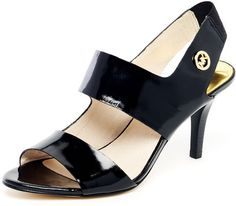 Rochelle Patent Leather Strappy Sandal Black Or Dark Dune