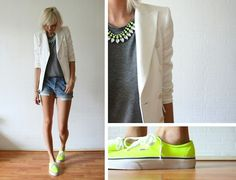 T-shirt, blazer and statement necklace with neon vans