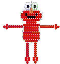 Elmo from Sesame Street Pony Bead Projects, Pony Bead Crafts, Beaded Crafts, Beading Projects, Beading Tutorials, Pony Bead Patterns, Kandi Patterns, Beaded Jewelry Patterns, Beading Patterns