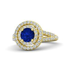 Round Sapphire 14K Yellow Gold Ring with Diamond | Eloise Ring (6mm gem) | Gemvara