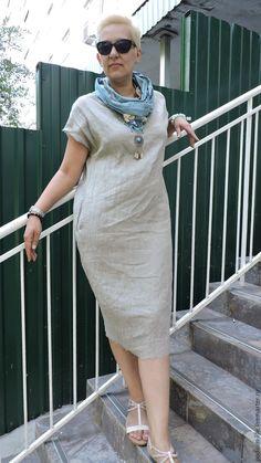 Купить БОХО платье из льна натуральное №17 Льняная одежда - серый, бежевый цвет