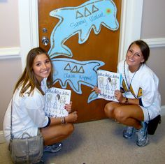 New babies coming home the night of Bid Day to find their notifiers on their door.  Pledge book in hand.