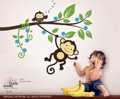 Jungle wall decals Monkey decalsMy little by wallstaledecor