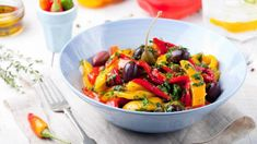 Try our grilled vegetable salad with basil and black olives recipe. With enhanced flavour and packed full nutrients. Grilled Vegetable Salads, Grilled Vegetables, Veggies, Balsamic Salad Recipes, Olive Salad, Olive Recipes, Summer Dishes, Healthy Diet Recipes, Olives