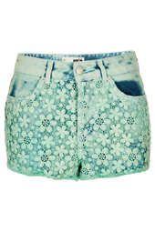 MOTO Green Crochet Hotpants