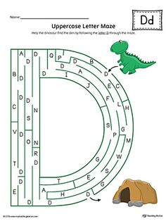 Uppercase Letter D Maze Worksheet (Color) Worksheet.If you are looking for creative ways to help your preschooler or kindergartener to practice identifying the letters of the alphabet, the Uppercase Letter Maze in Color is the perfect activity.