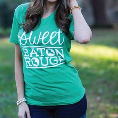 Here at SFT, we have so much love for our great city of Baton Rouge! Show your Redstick pride this St. Patrick's season with our Sweet Baton Rouge® St. Patrick's Envy V-neck tee!