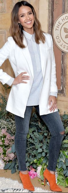 Who made Jessica Alba's white jacket, blue stripe shirt, and orange suede ankle boots?