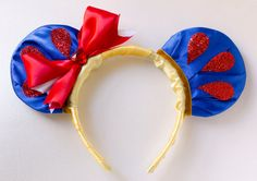 $36 Mickey Mouse Ear Headband Inspired by Princess Snow White    These ears are covered with a beautiful yellow & blue silk fabric. The sides of the
