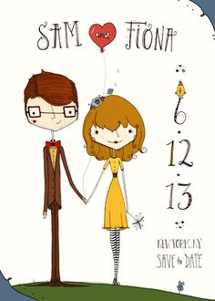 custom Save the Date illustration 5x7 by matyldabiedron on Etsy, $45.00