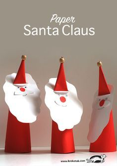 35 Easy Santa Christmas Crafts for Kids - Chicbetter Inspiration for Modern Women Preschool Christmas, Noel Christmas, Christmas Paper, Christmas Activities, Christmas Colors, Winter Christmas, Christmas Ornaments, Craft Projects For Kids, Christmas Crafts For Kids