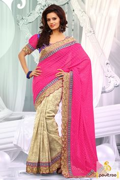 Embellished with lace patti, resham and embroidery works. The georgette and dhupion made pink off white designer party wear Saree is attractive in looks.