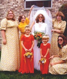 Always the perfect bridal attendants, Minnie & Inez promised Enid that they would perform a final head lice check before she walked down the isle.