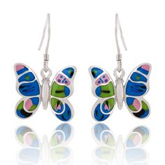 Sterling Silver Colorful Butterfly Earrings