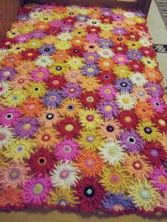 Spring Garden Crochet Blanket...Baby Crib Blanket...Flowers Patchwork Afghan...