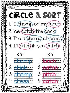 Digraph CH sound activities that are ready to print and go - all differentiated and fun phonics word work