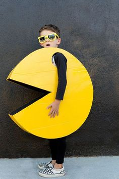 Packman costume idea.  Made with cardboard and paint.  Simple and fun.