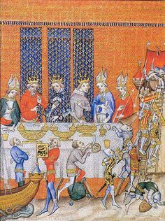 Spectacular entertainments at table: the Entremet. Banquet of Three Kings, 1378 (Charles V of France, Emperor Charles IV, Wenceslaus IV of Bohemia, King of the Romans. Grandes Chroniques de France de Charles V, c. 1380 (Paris). BnF MS Français 2813 fol. 473v. Bibliothèque nationale, Paris. Around the table: an entremet (performance) of the First Crusade: Godfrey of Bouillon arrives in the Holy Land in his ship and captures Jerusalem from the Saracens