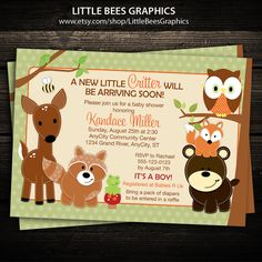 Woodland Forest Animals Printable Baby Shower or Birthday Invitation -- Any Color on Etsy, $12.99