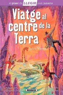 """Viatge al centre de la terra de Jules Verne, adaptat per Consuelo Delgado. Col. El plaer de llegir, Ed. Susaeta. """"La primera novel·la de Verne, Cinc setmanes amb globus (1862) va donar-li tanta fama, que va continuar escrivint llibres d'aventura fantàstica. El següent fou Viatge al centre de la Terra (1864), i va haver de documentar-se en geologia, mineralogia i paleontologia. Les detallades descripcions d'animals..."""" Material didàctic…"""