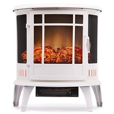 Regal #Electric #Fireplace - e-Flame USA 25 Inch White Portable Electric Fireplace Stove with 1500W Space #Heater Realistic Flame and Log. Vintage Design for Corners  Full review at: http://toptenmusthave.com/best-electric-radiators/