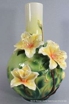 FZ02729 Franz Porcelain Yellow Azalea large vase New Summer Introduction
