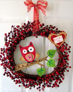 Valentines Owl Wreath