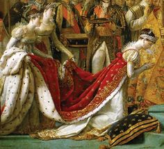 Josephine kneels in order to be crowned by Napoleon, in a detail from Coronation of Napoleon in Notre-Dame, an oil painting by Jacques-Louis David from 1805–07. The painting is in the Louvre Museum, in Paris, France. It is a massive painting; second largest painting at the Louvre.