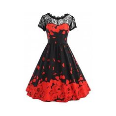 5xl Plus Size Lace Rose Petal Pattern Valentine Dress ❤ liked on Polyvore featuring dresses, womens plus dresses, rose pattern dress, lace dress, plus size print dress and petal dress