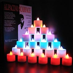 Flameless Candles LED Colorful light Electric Tea Candles with 12 Glowing Color Remote and Timer Flickering Color Change PERFECT Realistic BatteryPowered Decoration Parties Events Candles 24Pack * Check this awesome product by going to the link at the image.