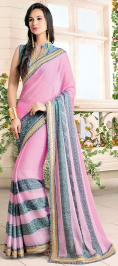 Buy Now : Rs. 2,250 /- http://www.indianweddingsaree.com/product/181418.html Pink and Majenta color family Embroidered #Sarees, Party Wear #Saree, Printed Sarees with matching unstitched blouse. #Sari